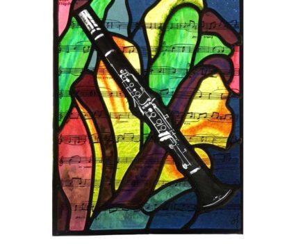 Titel: Klarinet. Brandschilderen, Glas in lood.