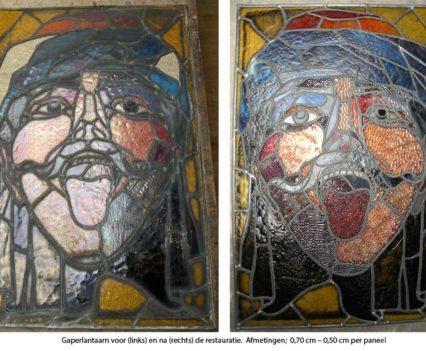 Gaperlantaarn; voor en na restauratie.