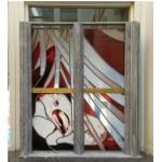 Ontwerp (deels uitgevoerd). Ontwerp kerkraam, opdracht Opleiding Master-Glass, Tilburg.