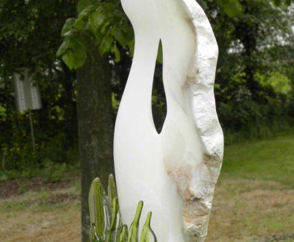 Glasatelier Anja. Sculptuur van Albast met glas